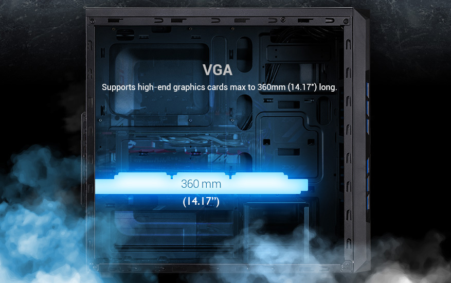 supports high-end graphics cards max to 360mm length