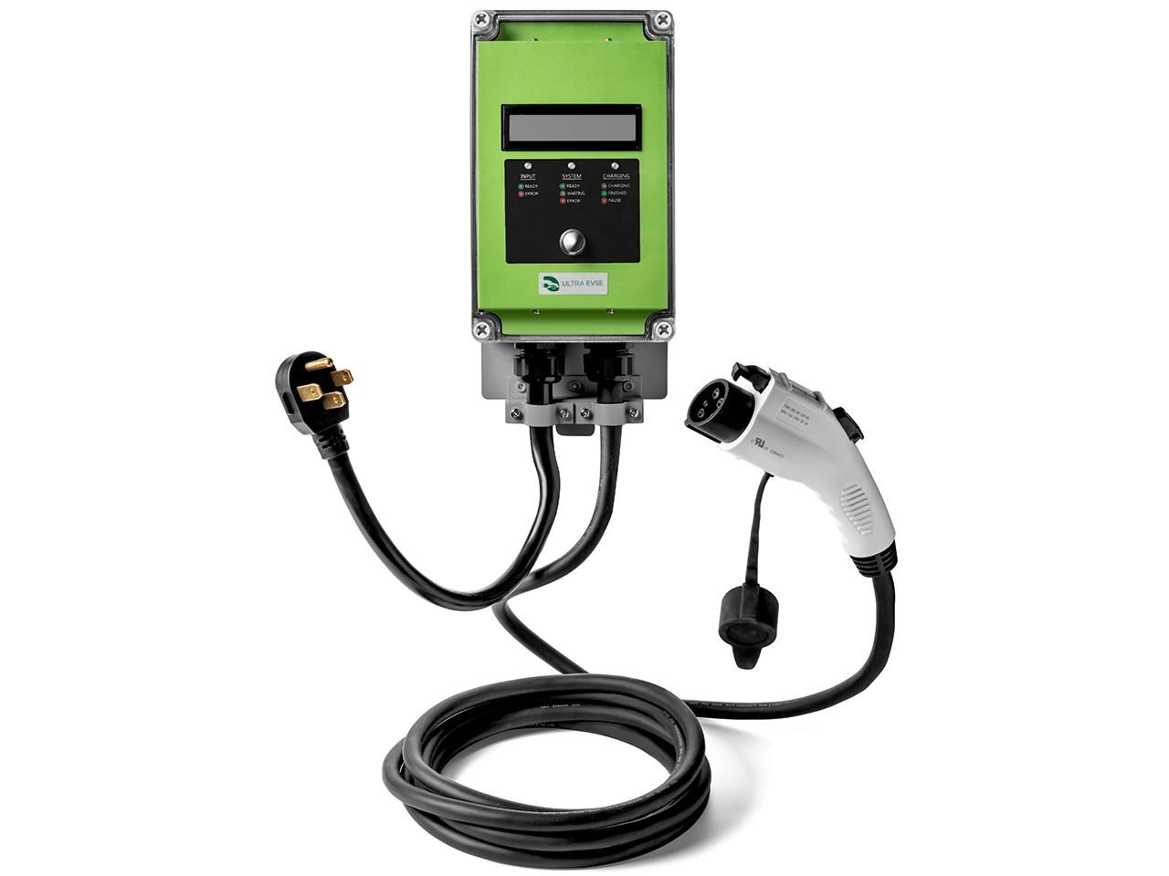 Ultra 32 Amp Electric Vehicle EV Charging Station J1772 NEMA 14-50 240V Level 2 18ft EVSE with Display- Lime