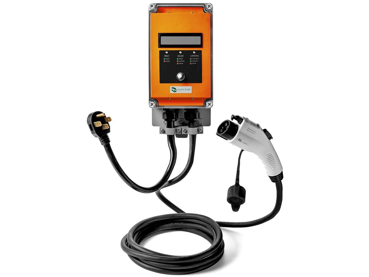 Ultra 32 Amp Electric Vehicle EV Charging Station J1772 NEMA 14-50 240V Level 2 18ft EVSE with Display- Orange
